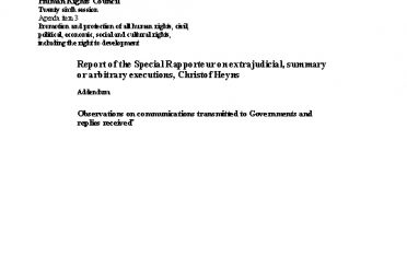A-HRC-26-36-Add.2. Report of the Special Rapporteur on extrajudicial, summary or arbitrary executions, Christof Heyns