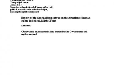 A-HRC-28-63-Add.1. Report of the Special Rapporteur on the situation of human rights defenders, Michel Forst