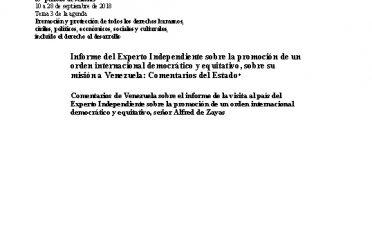 A-HRC-39-47.Add.2. Informe del Experto Independiente sobre la promoción de un orden internacional democrático y equitativo, sobre su misión a Venezuela. Comentarios del Estado