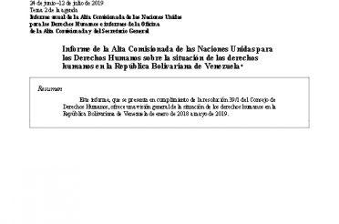 A-HRC-41-18 Unofficial translation. Informe de OHCHR sobre la situación de los derechos humanos en la República Bolivariana de Venezuela