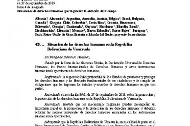A-HRC-42-L.4-Rev.1. Situación de los derechos humanos en la República Bolivariana de Venezuela