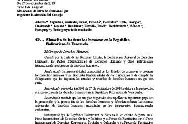 A-HRC-42-L.4. Situación de los derechos humanos en la República Bolivariana de Venezuela