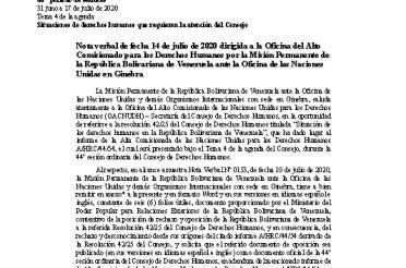 A-HRC-44-G-14. Nota verbal de fecha 14-07-2020 dirigida a la OHCHR por la Misión Permanente de Venezuela ante la Oficina de las Naciones Unidas en Ginebra