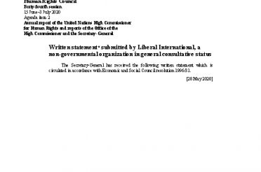 A-HRC-44-NGO-16. Written statement submitted by Liberal International, a non-governmental organization in general consultative status