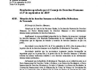 A-HRC-RES-42-25. Resolución aprobada por el Consejo de Derechos Humanos el 27 de septiembre de 2019. Situación de los derechos humanos en Venezuela