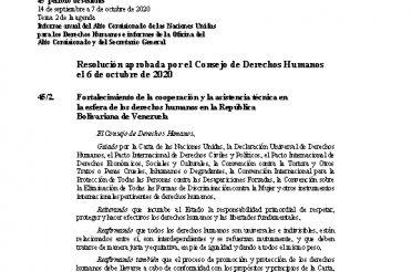 A-HRC-RES-45-2. Resolución aprobada por UNHRC el 6-10-2020. Fortalecimiento de la cooperación y la asistencia técnica en la esfera de los derechos humanos en la República Bolivariana de Venezuela
