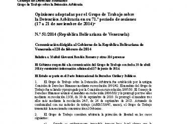 A-HRC-WGAD-2014-51. Opiniones adoptadas por el Grupo de Trabajo sobre la Detención Arbitraria en su 71 período de sesiones (17 a 21-11-2014). Nro. 51-2014