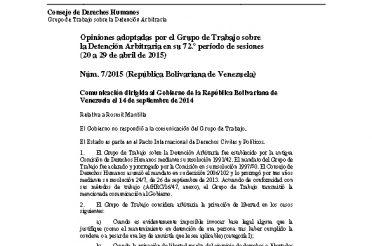 A-HRC-WGAD-2015-7. Opiniones adoptadas por el Grupo de Trabajo sobre la Detención Arbitraria en su 72 período de sesiones (20 a 29-04-2015). Núm. 7-2015