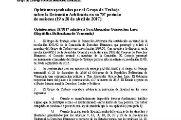 A-HRC-WGAD-2017-18. Opiniones aprobadas por el Grupo de Trabajo sobre la Detención Arbitraria en su 78 período de sesiones (19 a 28-04-2017). Opinión núm. 18-2017