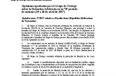 A-HRC-WGAD-2017-37. Opiniones aprobadas por el Grupo de Trabajo sobre la Detención Arbitraria en su 78 período de sesiones (19 a 28-04-2017). Opinión núm. 37-2017