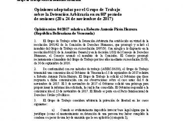 A-HRC-WGAD-2017-84. Opiniones adoptadas por el Grupo de Trabajo sobre la Detención Arbitraria en su 80 período de sesiones (20 a 24-11-2017). Opinión núm. 84-2017