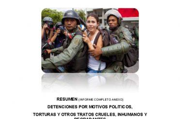 Detenciones por motivos políticos, torturas y otros tratos crueles, inhumanos y degradantes 2014-2015. RESUMEN (Informe completo anexo)