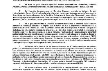 Informe Anual 2017 de la CIDH. CAPÍTULO IV. B VENEZUELA