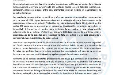 Informe general sobre situación actual de derechos civiles y políticos en Venezuela. Octubre 2018