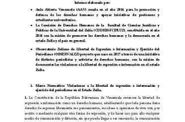 Informe sobre la situación del derecho a la libertad de expresión e información y ejercicio de periodismo en el Estado Zulia