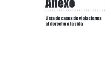 PROVEA. Informe Anual 2016. Anexo. Lista de casos de violaciones al derecho a la vida