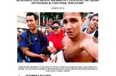 Relación de los casos de asesinatos y estatus de las causas reportadas al Foro Penal Venezolano. Enero 2016