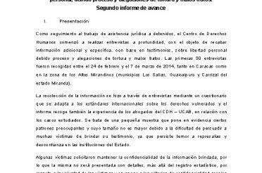 Segundo informe de avance sobre libertad personal debido proceso y alegaciones de tortura y malos tratos