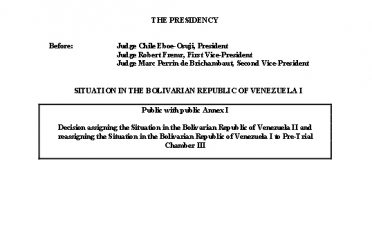 Decision assigning the Situation in the Bolivarian Republic of Venezuela II and reassigning the Situation in the Bolivarian Republic of Venezuela I to Pre-Trial Chamber III