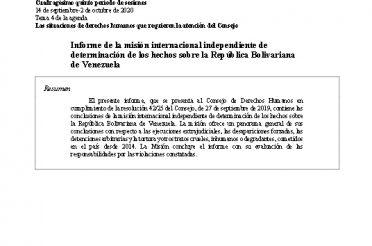 Informe de la Misión Internacional Independiente de Investigación sobre la República Bolivariana de Venezuela