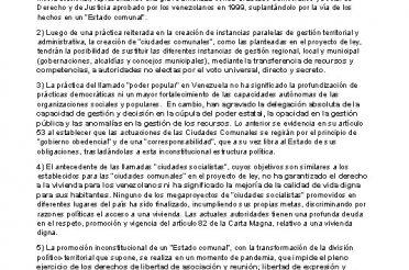 123 organizaciones afirman Inconstitucional proyecto de ley de ciudades comunales modifica el modelo de Estado democrático de la Carta Magna Venezolana