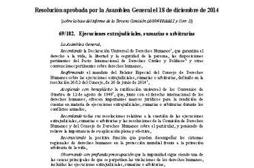 ONU Ejecuciones extrajudiciales, sumarias o arbitrarias 2015 Resolucion
