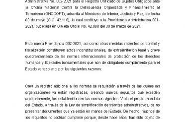 Organizaciones de la Sociedad Civil exigen revocar la Providencia Administrativa 002 y cualquier otra medida dirigida a criminalizar y cerrar el espacio cívico en Venezuela